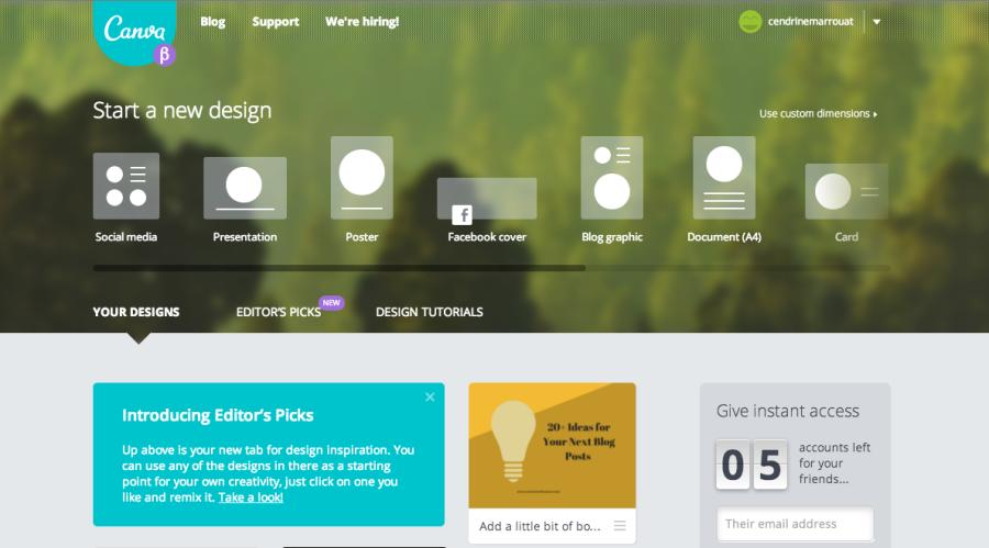 Así se verá tu cuenta en la plataforma de Canva, para comenzar a diseñar solo tienes que elegir una de las opciones de diseños, o bien puedes crear un diseño de tamaño personalizado.